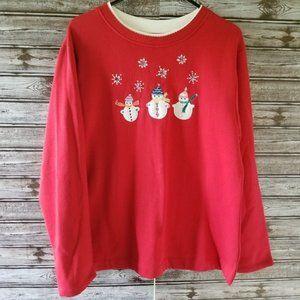 NWT Fleece Lined Snowman Sweatshirt XL